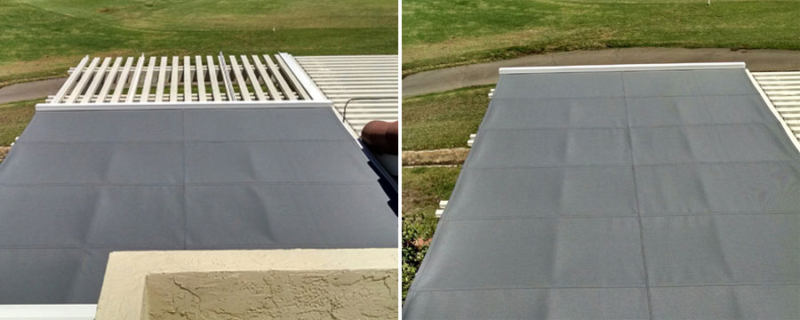 Retractable fabric shades for patio covers skylights for Shade cloth san diego